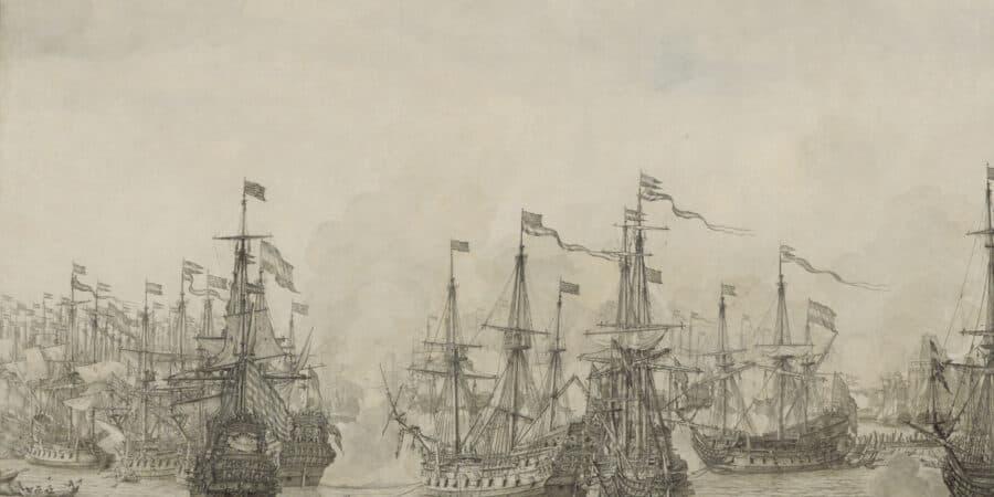 Gevecht Tussen De Retourvloot Van Pieter De Bitter En Een Engels Eskader In De Haven Van Bergen In Noorwegen, Willem Van De Velde De Oude, 1666 1668